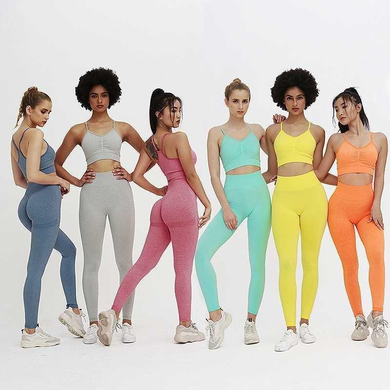 Seamless Yoga Set Women Fitness Clothing Sportswear Woman Gym Leggings Padded Push-up Strappy Sports Bra 2 Pggings Workout Pants1