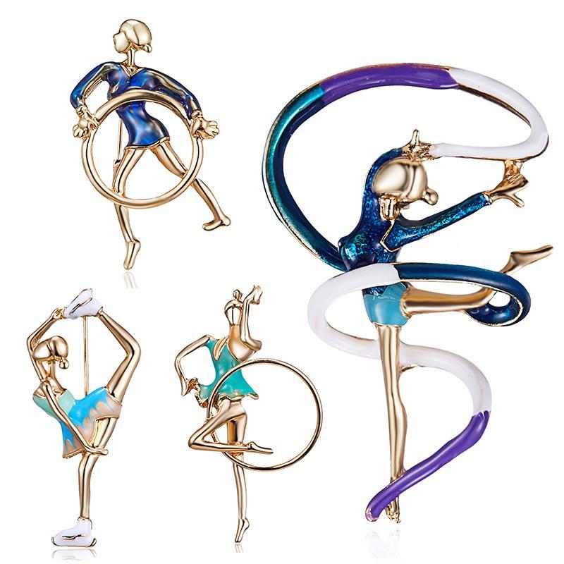 Neue Emaille Turnerin übt Gymnastik Balletttänzer Mädchen-netten Kleid-Mantel-Brosche Frauen Mode Schmuck Weihnachtsgeschenk