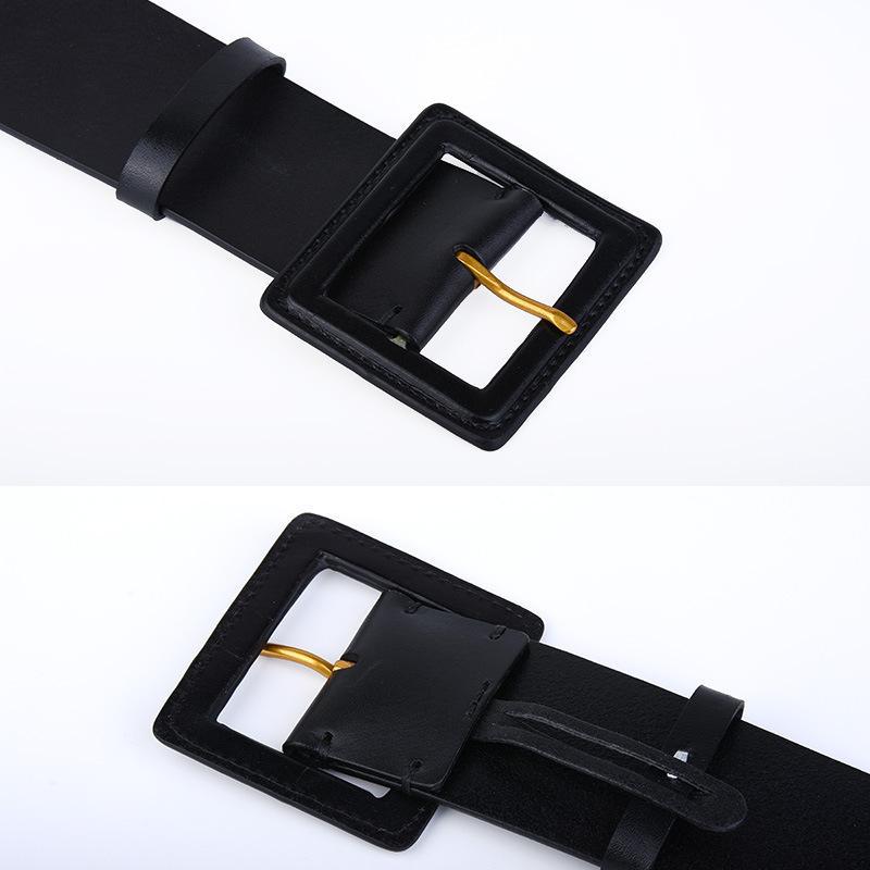 Mode tout-match large ceinture de cuir de vache robe manteau décoratif femmes cuir long pull large étanchéité à la ceinture de ceinture