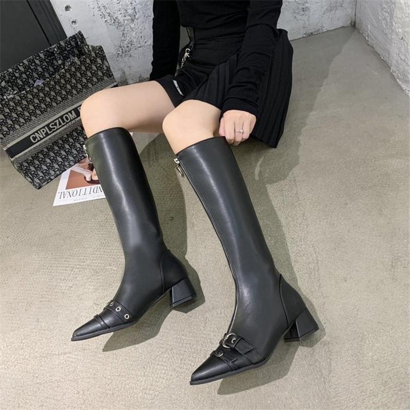 2021 Yeni Sonbahar Kış Yüksek Kaliteli Deri Kadın Yüksek Topuklu Yüksek Topuklu, Metal Çizmeleri, Cıvata Kaymaz Fermuar, Giyilebilir Botlar GNG9