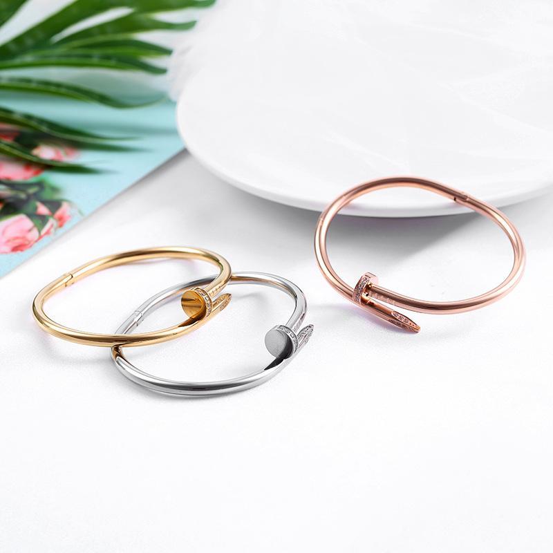 2 pcs para amantes de aço titânio unha pulseira inlay diamante parafuso prego manguito bracelete mulheres homens amor presente de jóias com caixa