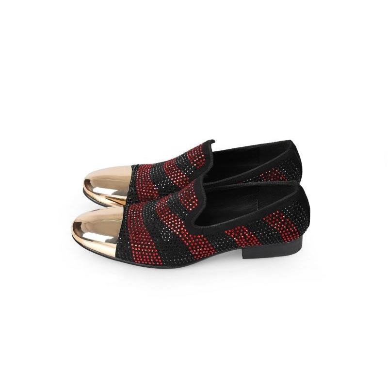 2020 Caret Strass Wedding Moccasins Gold Toe Foot Leather Men's Social Shoes K3bu