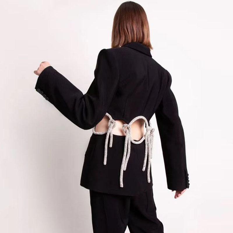 Otoño Nuevo Moda Diseñador de la pista 2021 Oficina Mujeres con muescas Hollow Out Manguito completo Diamantes sin espalda Blazer Black Blazer Outerwear