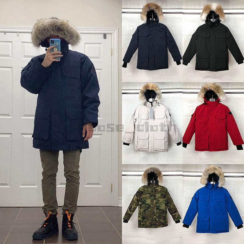 2021 망 다운 재킷 Veste Homme 야외 겨울 자열 겉옷 큰 모피 후드 fourrure manteau 다운 자켓 코트 Hiver Parkas Doudoune
