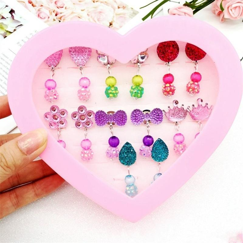 Children No Earhole Ear Clip Kids Jewelry Accessories Cartoon Flower Bow Heart Shape Gift Box Baby Girl Acrylic Earring 9 9nd L2
