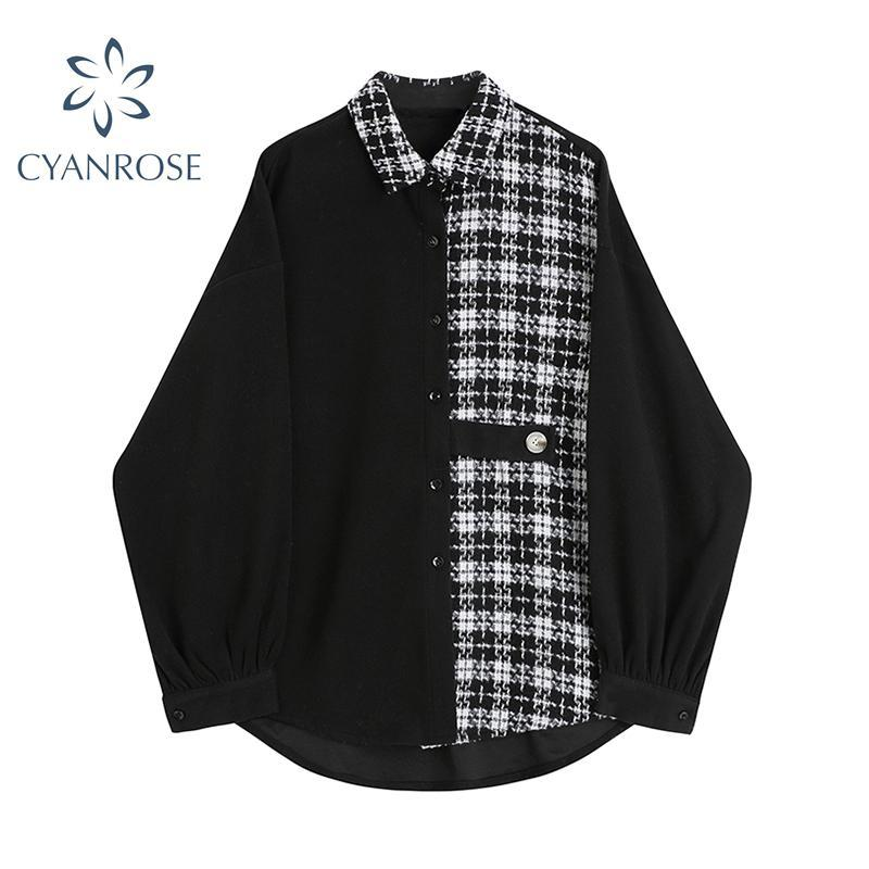 Blusas de mujer Camisetas Streetwear Blusa Camisa de manga larga Remiendo de manga de giro 2021 Primavera coreana moda ropa casual para