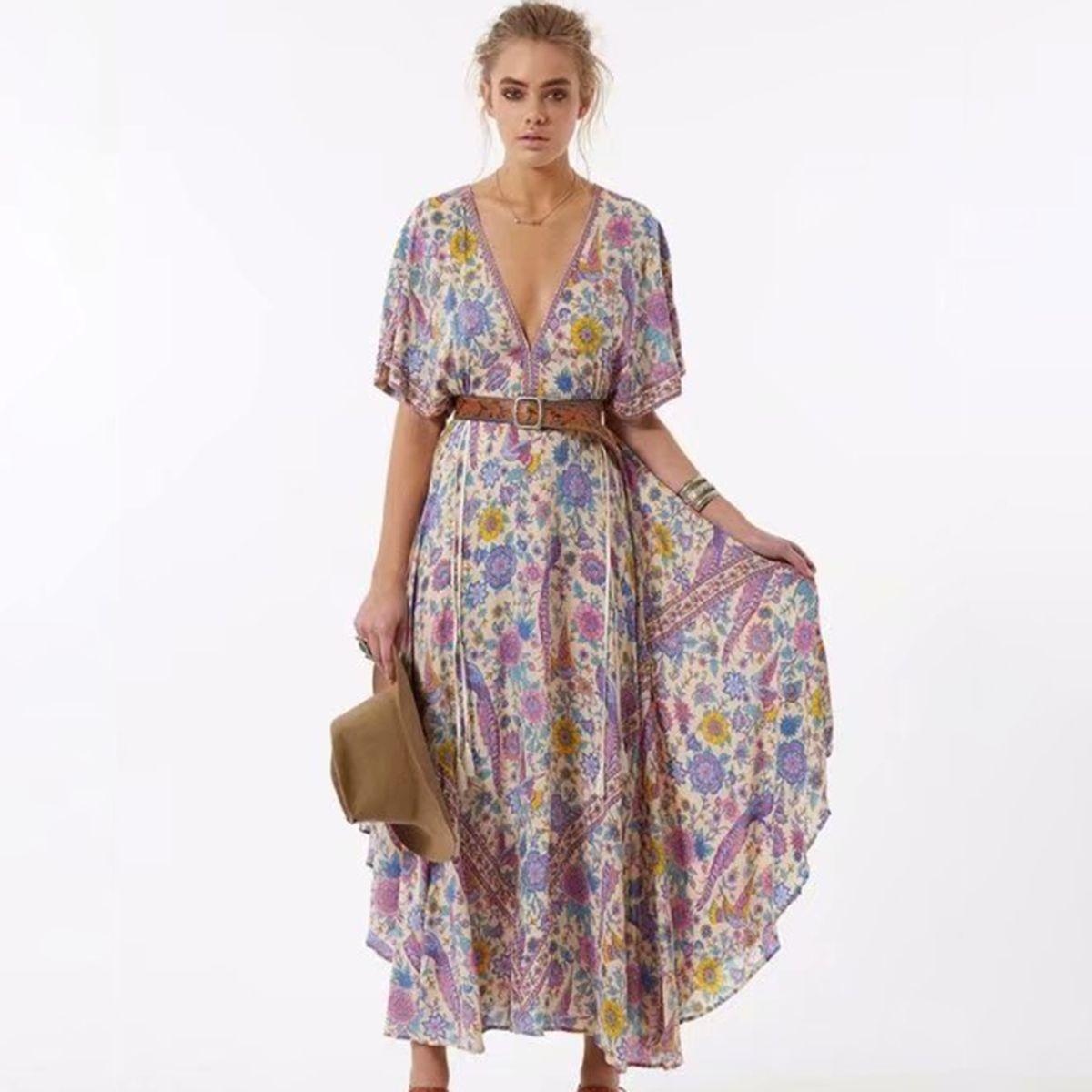 Inséparable Retro Boho Maxi Dress Femmes 2019 Summer Long manches col V Robe Sexy Chic Ladies Big Hem imprimé floral plage Robe longue