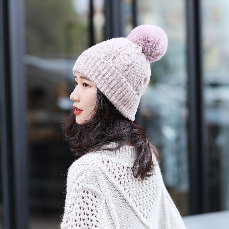 Chapéus de Inverno para Unisex New Gorros de malha sólida bonito Hat Lady Autumn Feminino Beanie Caps preto