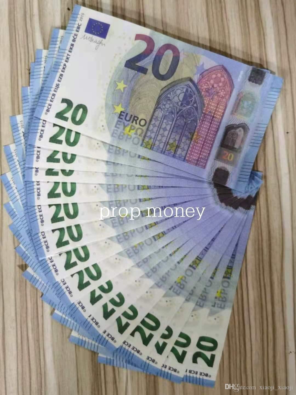 2020 Nuevo Euro Película Venta al por mayor Bar Money Bags-U Money 20 Fake Style Money Hot Money Pop Billet Atmósfera Prop VBuok