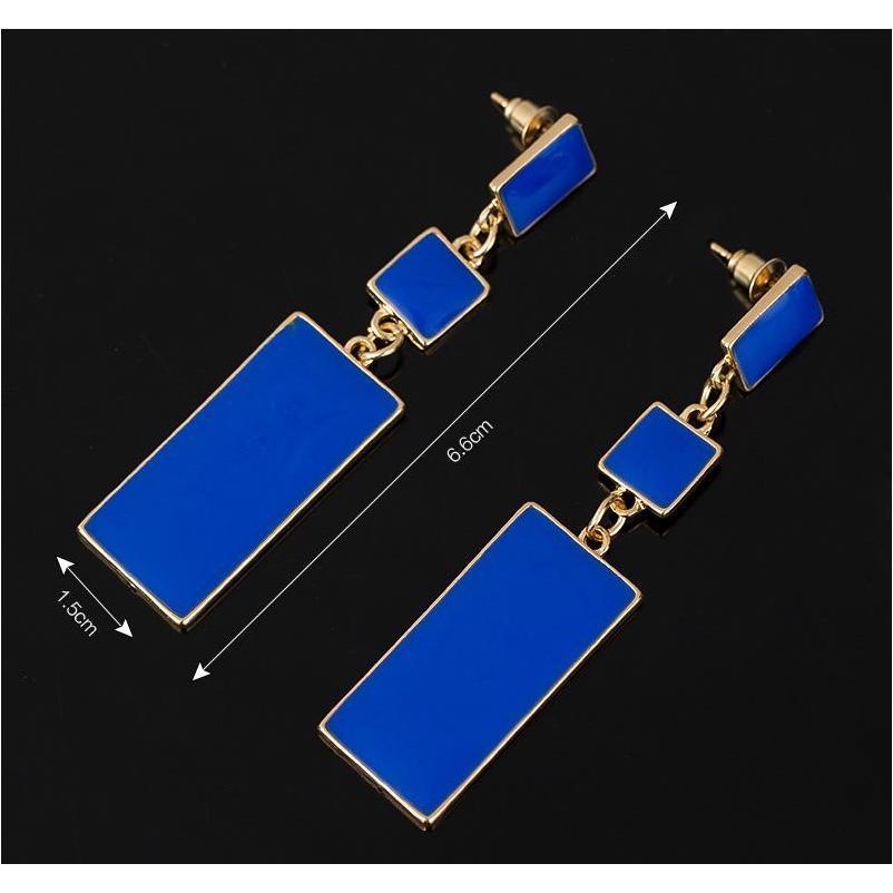 Diseño de moda Geometría Gold Color 4 Color Aleación azul esmalte de gota de esmalte para mujeres Pendientes largos en VA SQCDBT Beauty888