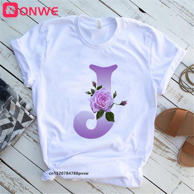 Цветочный буквы шрифта A B C D E F G Пользовательское название розовые буквы комбинированная футболка с короткими рукавами футболки