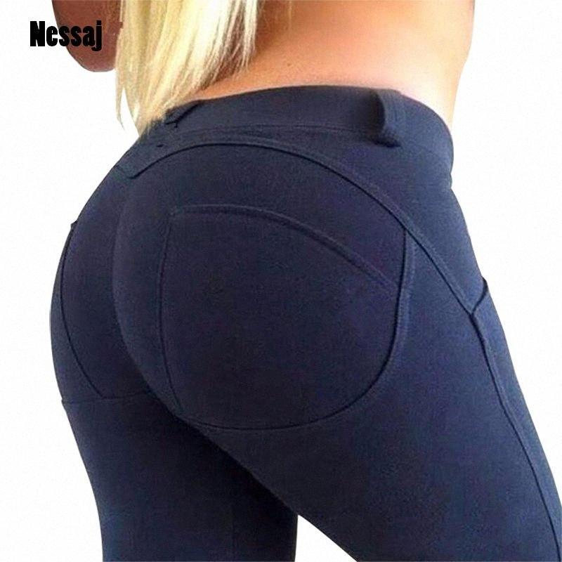 Nessaj 2020 Мода хорошего качества с низкой талией Эластичные леггинсы Push Up Брюки Женщины Sexy Hip Тощий В Stretch Хлопок поножи Y200328 M39L #
