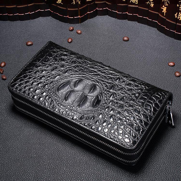 portefeuilles portfel meski double pièce à glissière pour les affaires d'embrayage hommes Homme portefeuille sac à motif crocodile billetera hombre