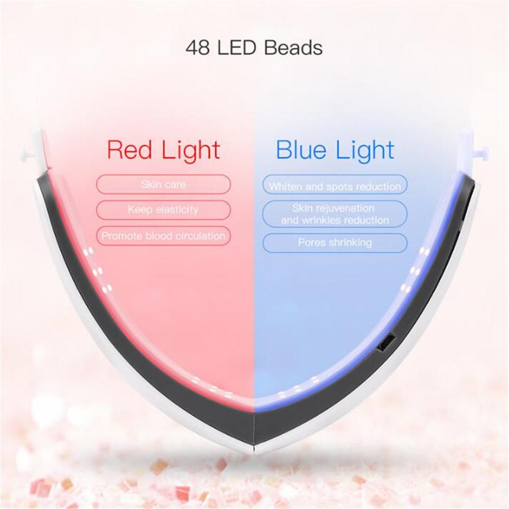 Chin V-Line Up Lift Belt Machine Red Blue LED Photon Therapy Facial Lifting Device Face Slimming Vibration Massager Beauty ToolR