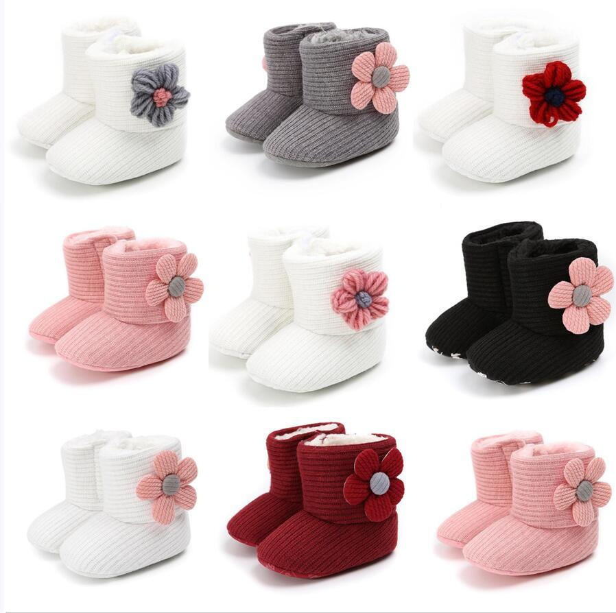 2021 малыш новорожденного младенца ползать обувь ботинки мальчик девушка тапочки предварительно проводящий мех зимний цветок первый ходок