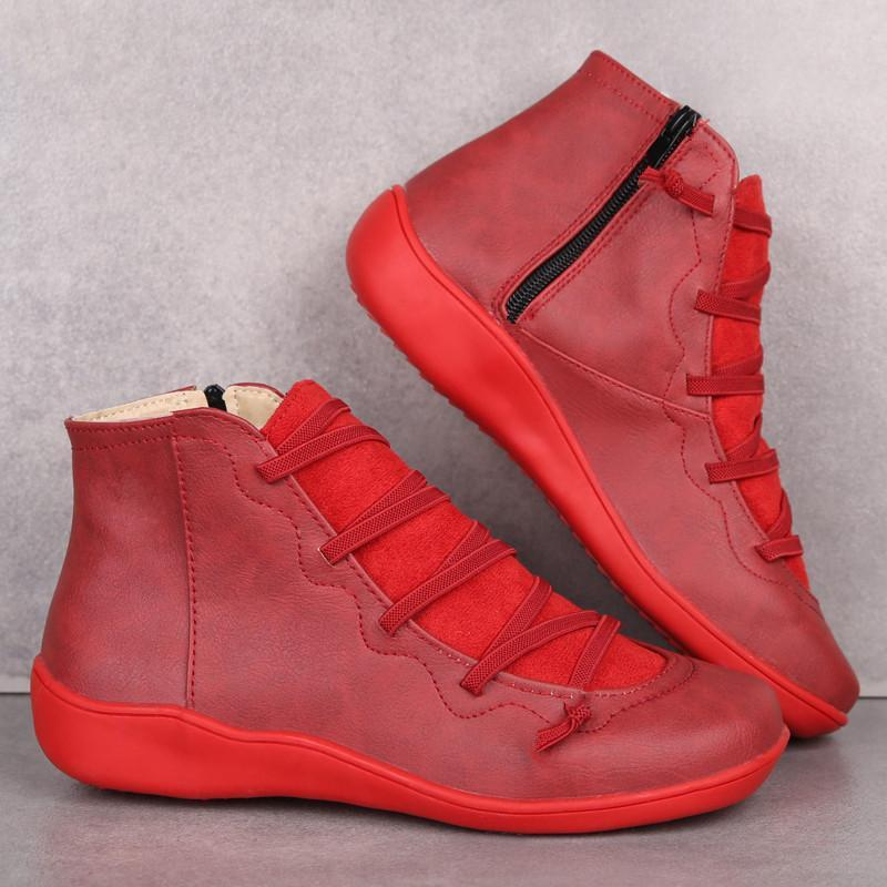 Women PU Leather Ankle Boots Women Autumn Winter Cross Strappy Vintage Punk Boots Flat Ladies Shoes Woman