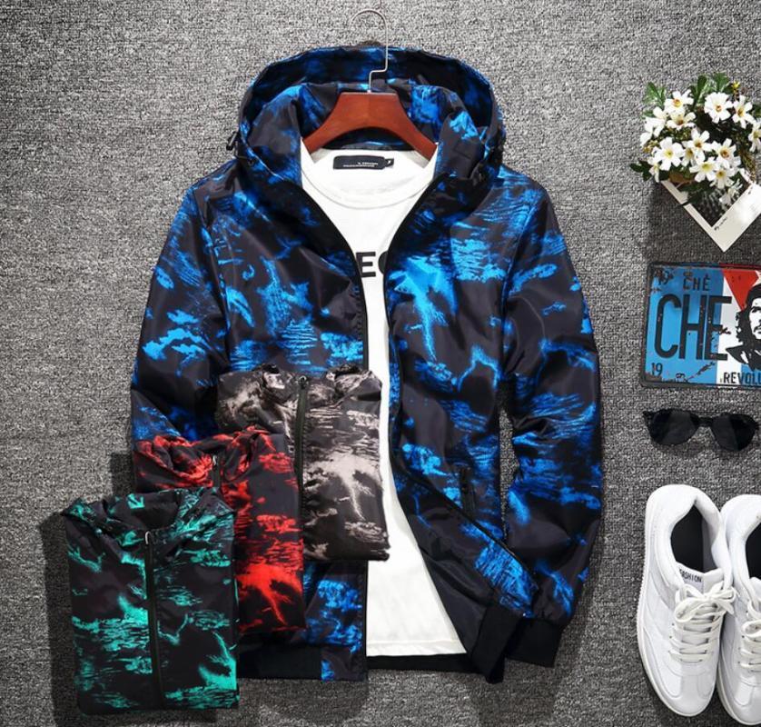 Moda Tasarımcısı Erkek Ceket Rüzgarlık Uzun Kollu Erkek Çiçek Ceketler Hoodie Giyim Zippe Up Ceket Kaban Artı Boyutu Giysileri