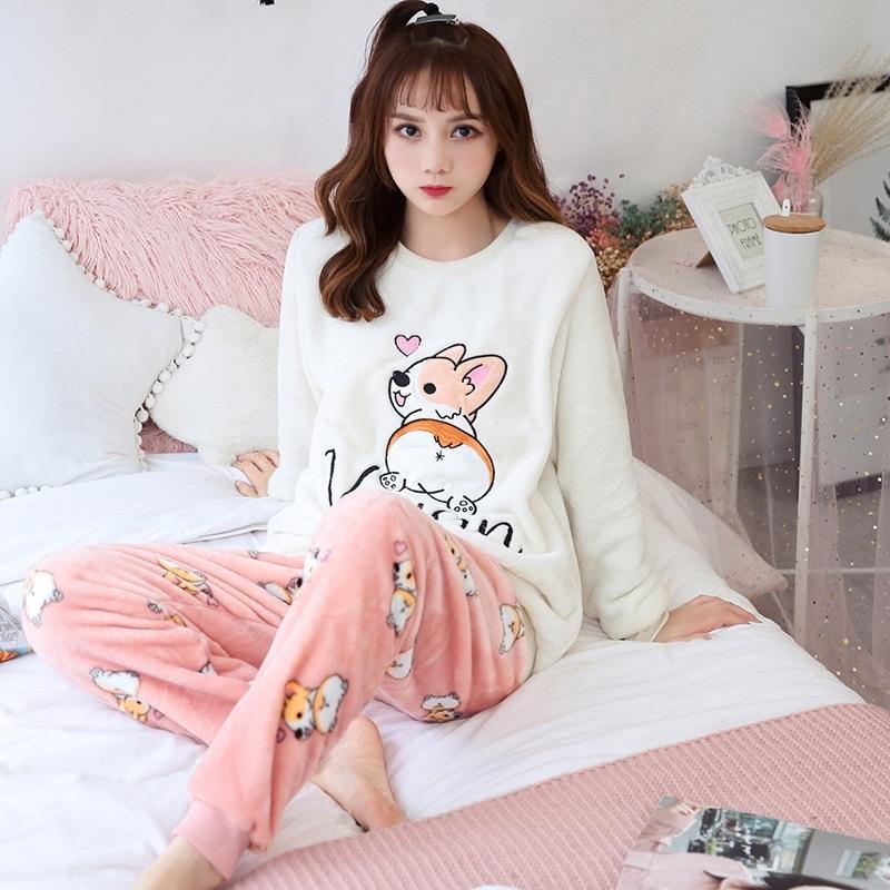 Invierno mujeres pijamas cálido noche noche ropa de dormir pijama mujer franela manga completa pijamas conjunto damas homewear pijama chicas ropa 201027