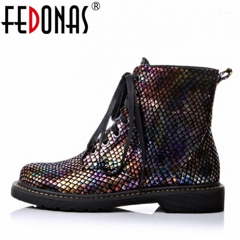 Fedonas Marka Ayak Bileği Çizmeler Kadınlar Için Lace Up Mix Renkler Kısa Bayanlar Ayakkabı Kadın Parti Gece Kulübü Motosiklet Botları Bayanlar1