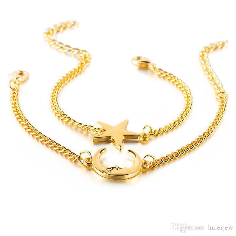 Lua Pulseira banhado a ouro prata céu estrelado brilhante Lua Estrelas Pulseiras