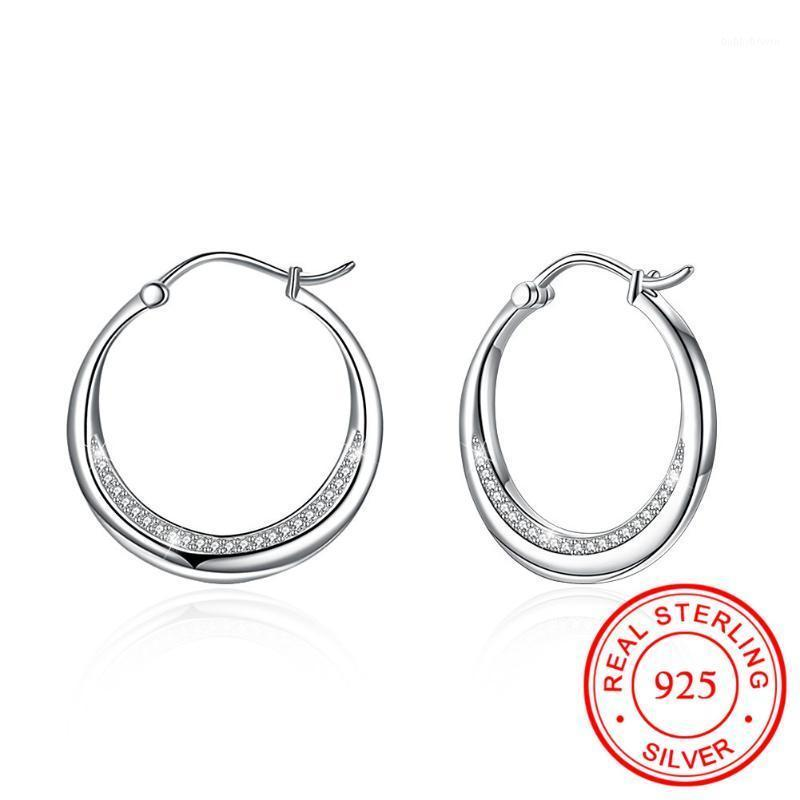 Hoop & Huggie 2021 S925 Sterling Silver Charm Earrings White Austrian Crystal Rhinestone For Wedding Party Jewelry Gifts1
