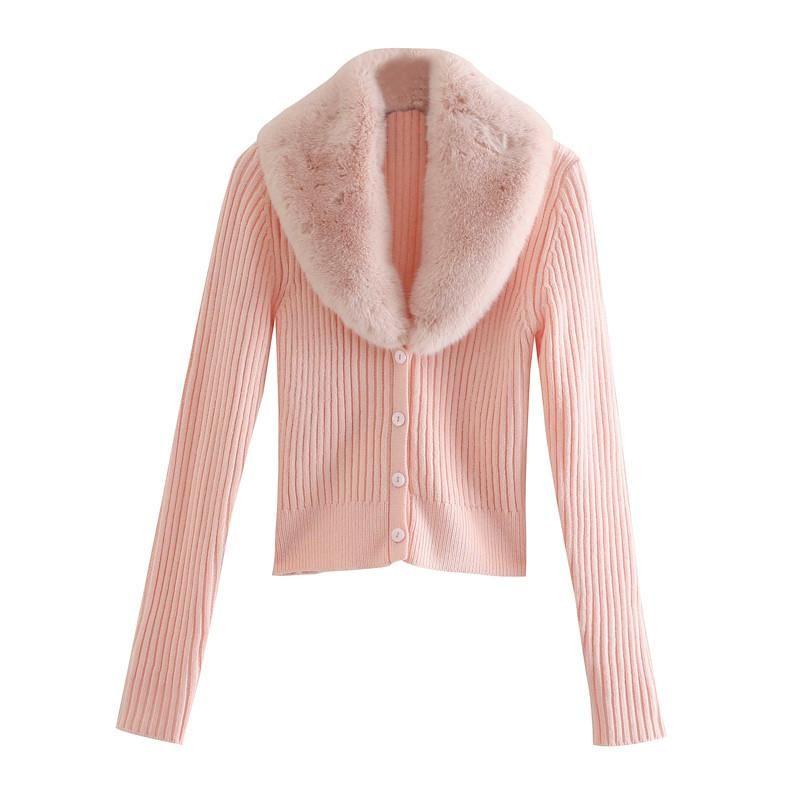 Le donne in pelliccia con scollo a V cardigan patchwork maglieria femminile maglione Chic maniche lunghe monopetto Slim rosa Top Hot-vendita