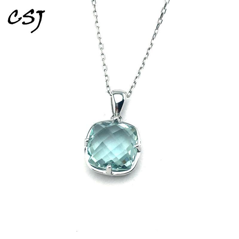 Améthyste CJS vert naturel Quartz Précieuses Pendentif en 925 bijoux en argent sterling fine pour les femmes boîte de cadeau de mariage express gratuite 1027