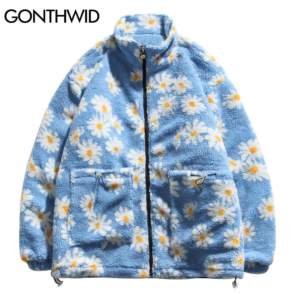 GONTHWID Cotton Padded Thick Parkas Jackets Streetwear Hip Hop Daisy Print Fleece Warm Full Zip Coats Fashion Harajuku Outwear 201028