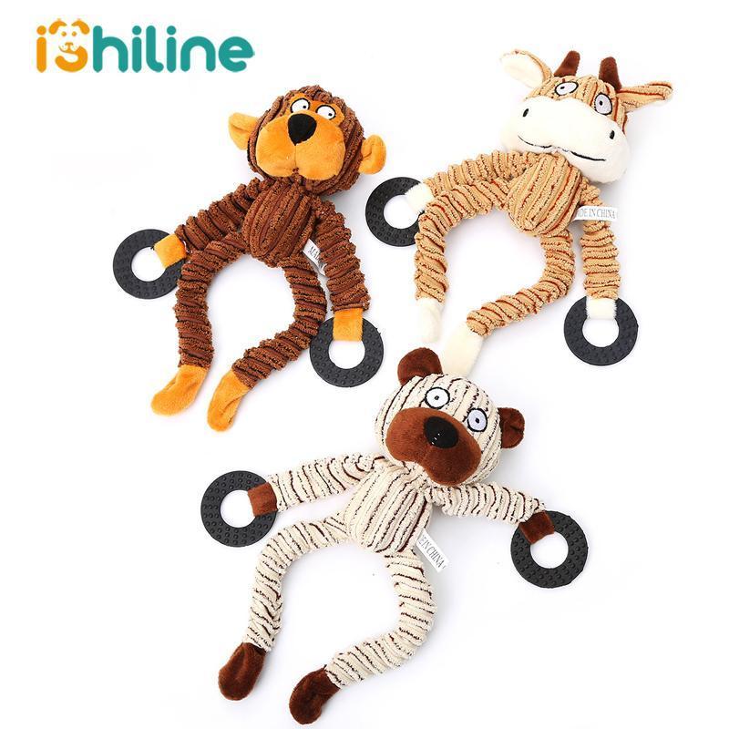 Dog Toys жует щенок щенка плюшевые животные звуки овец обезьяна корова тупая игрушка