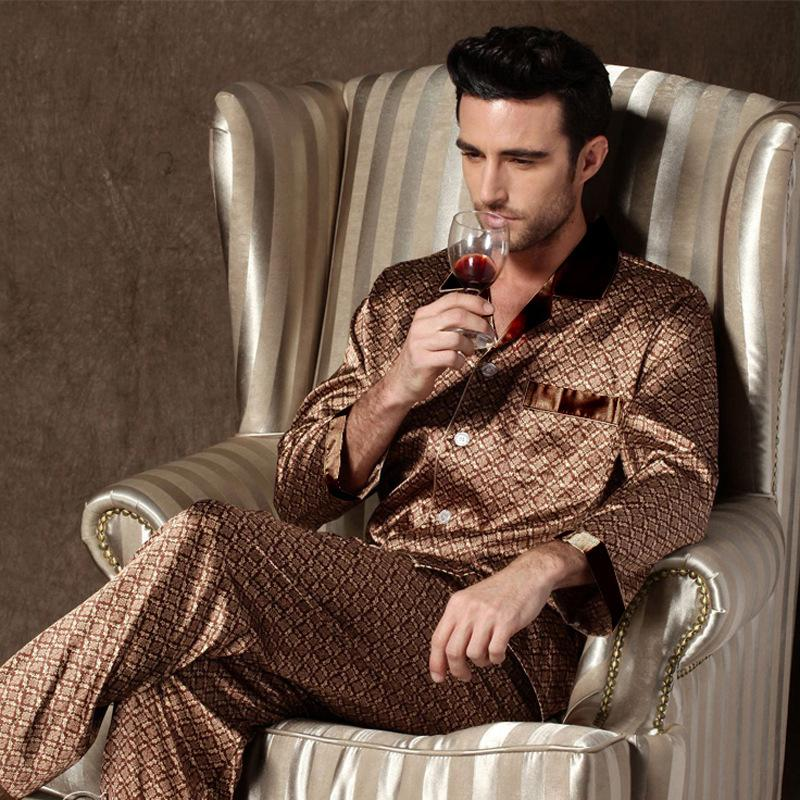 Designer da uomo per Nightwear Manica Lunga Pantaloni Pantaloni Pantaloni Thin Ice Seta Pigiama Uomo Sleepwear Pijama Set