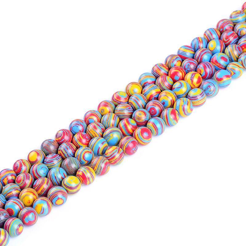 1strand Lot 4 6 8 10 12 mm perlas de piedra de malaquita a rayas redondas LOTE SPACER Charm Bead para joyería Hacer el collar de bricolaje H BBYOMG