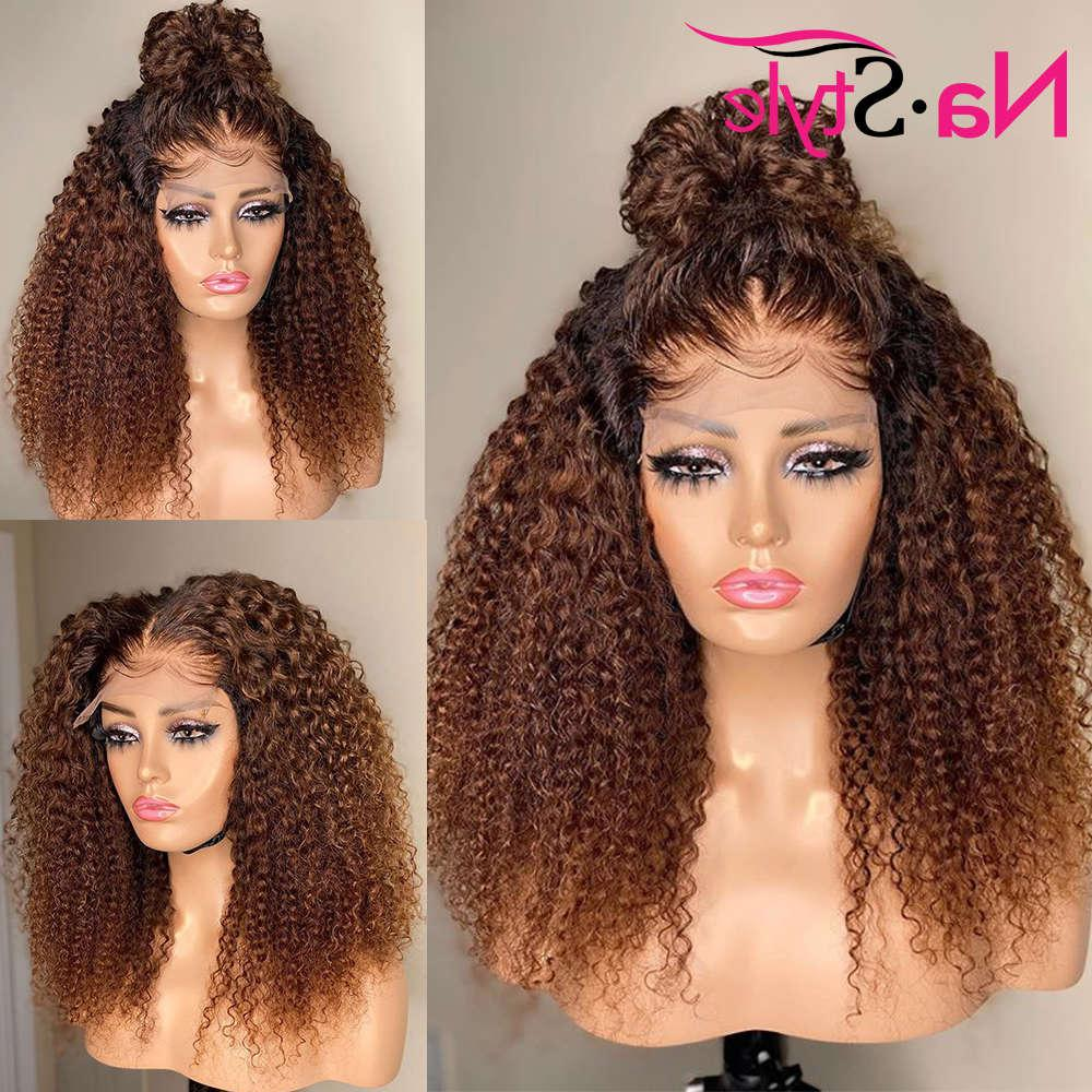 Kinky Curly Wig For Black Women Honey Blonde Front Human Hair Pre Plucked Full 360 Lace Frontal Wigs 150 Remy