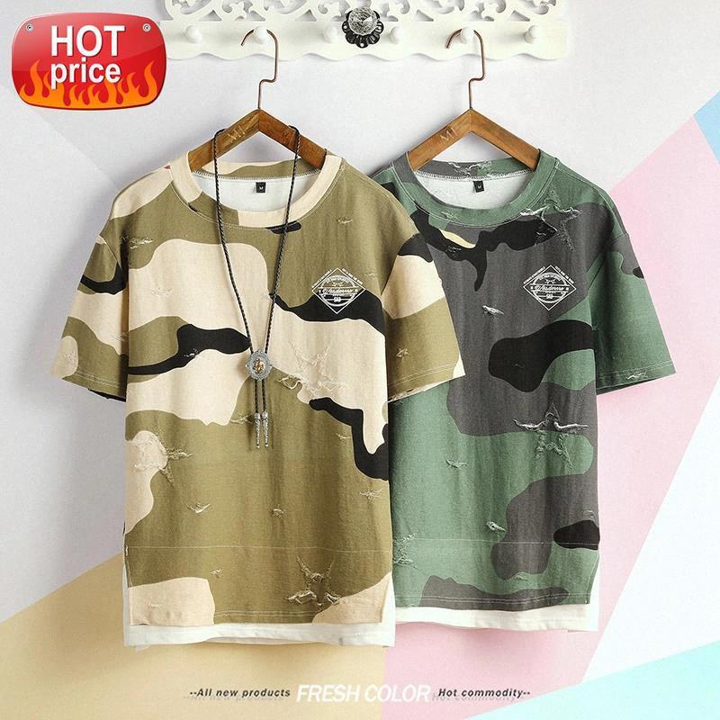 Kamuflaj Tshirt Bahar Erkekler Tasarım Tshirt Taktik Kamuflaj Erkek T-Shirt Masculina Tshirt Askeri Kırık T Gömlek # 5E1D