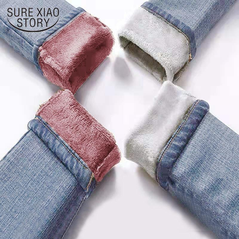 Automne Jeans hiver femme taille haute Jeans molletonnée longue femme Pantalon épais coton bleu Denim Pantalons 2020 Nouveau 11371