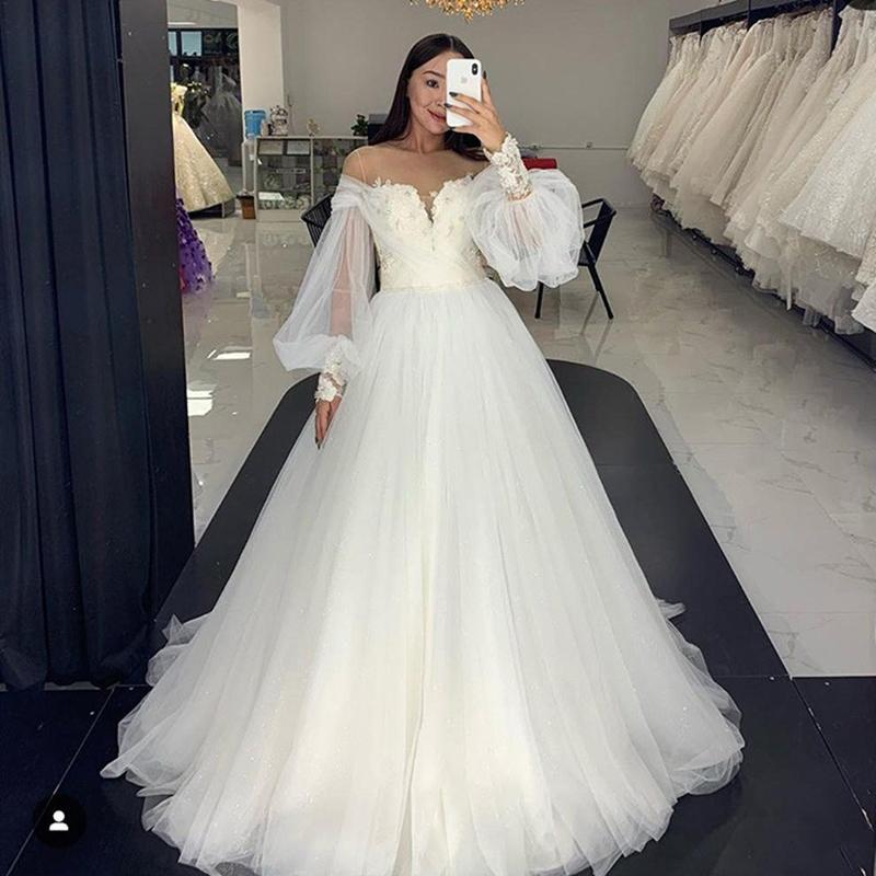 Princesse Design Robes De Mariée Robes De Mariée Robes De Mariée Porte-Cou Dentelle Plissé Tulle A Ligne 2021 Robes de mariée Personnalisé Plus Taille