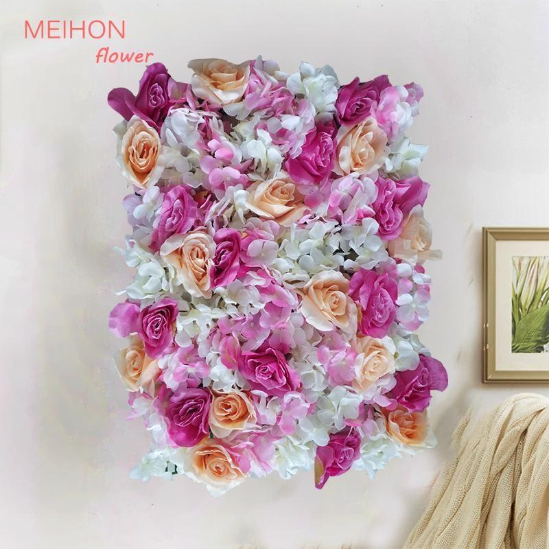 Silk Rose Flower Champagne Artificial Flower Hydrangea Wedding Decorative Romantic Wall-Mounted Wedding Wall Decoration
