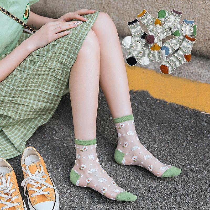 2020 New verão respirável fina malha Socks Mulheres Flor Moda Meias doce princesa meninas curtas para sapatas de lona