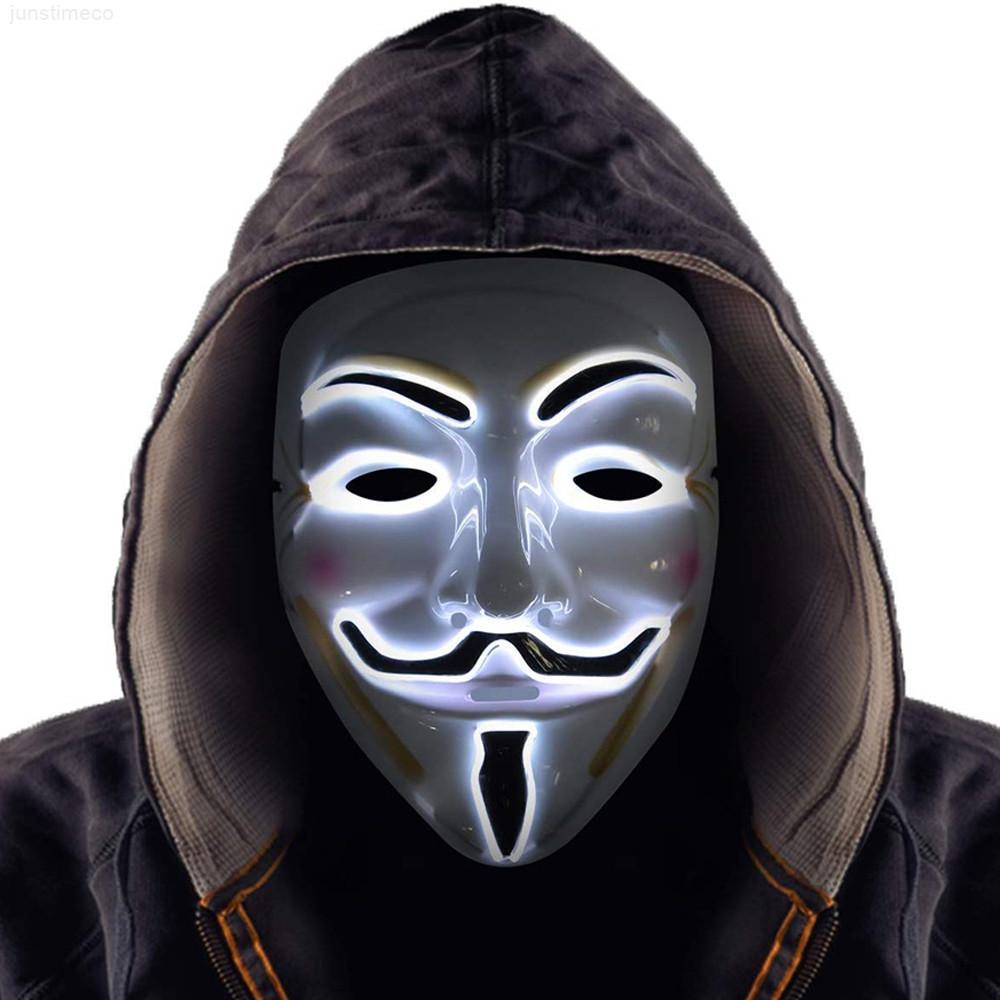 Костюм светодиодная маска косплей Хэллоуин декоративный хакер вендетта маски парня fawkes зажечь для вечеринки фестиваль одобрения реквизиты 8 цветов jk1909
