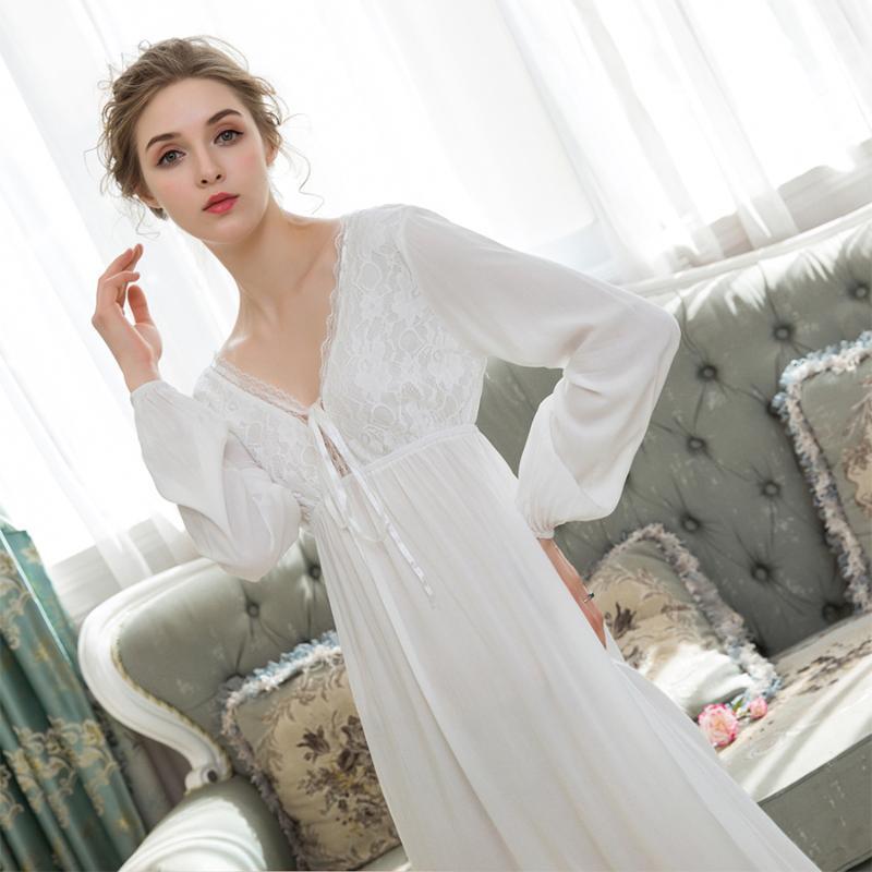 Autumn Sexy V Neck Lace Night Dress Cotton Comfortable Nightgown Sleepwear Long Sleeve Plus Size Loose Black Midi Dress Lingerie