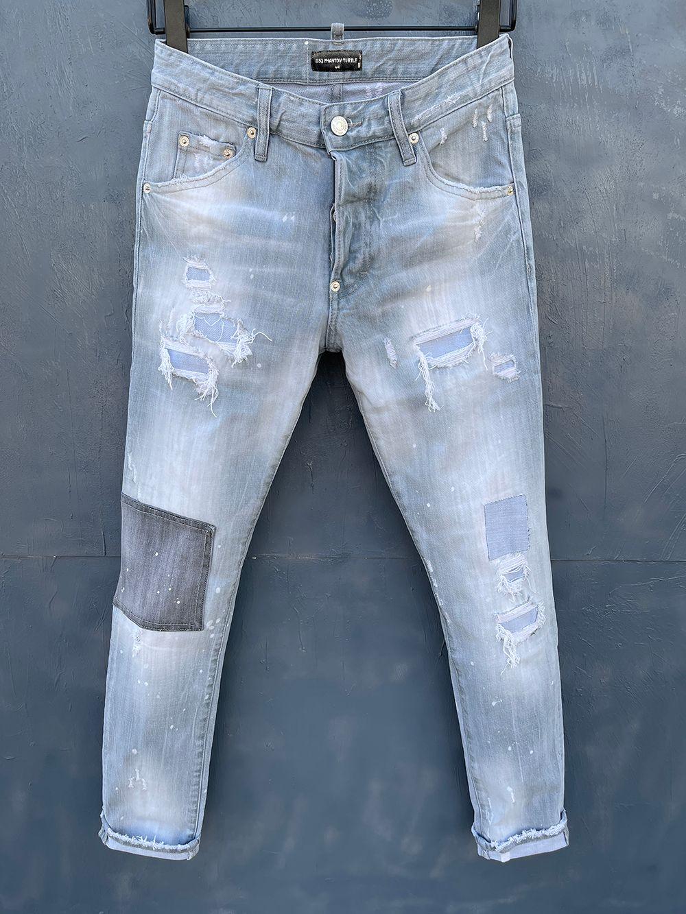 DSQ Phantom Tortue Classic Mode Homme Jeans Hip Hop Rock Moto Mens Décontracté Design Décontracté Jeans Détresse Skinny Denim Biker DSQ Jeans 1043