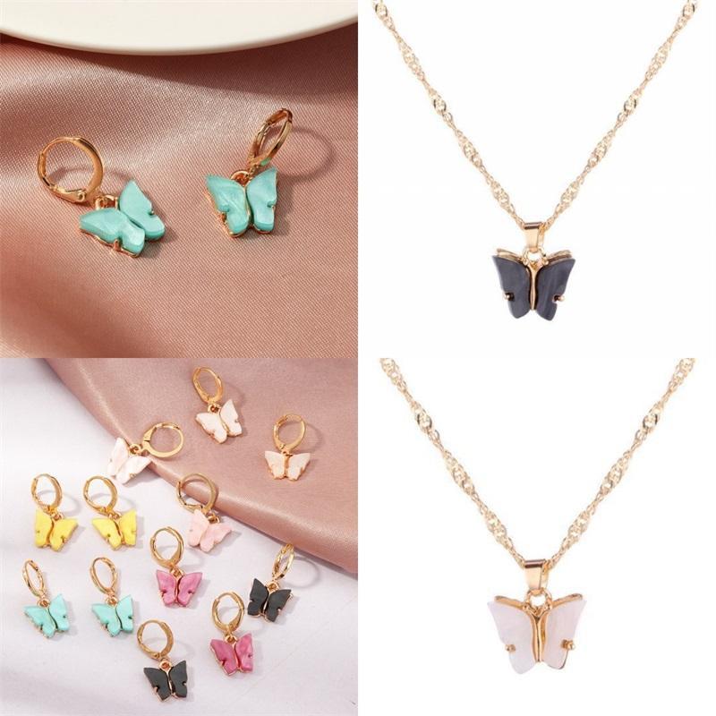 لون فراشة قلادة قلادة إمرأة أكريليك مطلي الذهب وأقراط ذهبية 2020 الأزياء سحر مجوهرات سلسلة منتجات جديدة 0 7SF F2B
