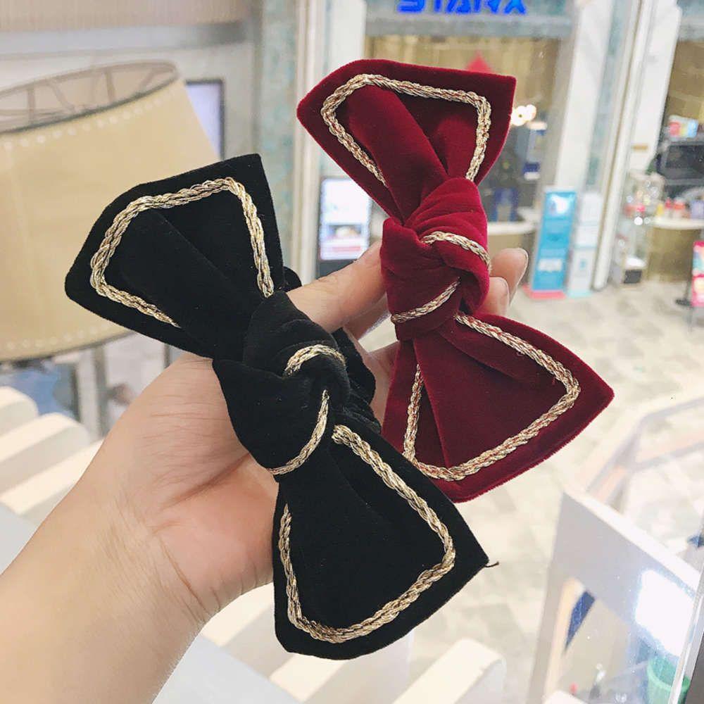 Golden Golden Black Bow Hairpin Cabelo Cabelo Bandas Bandas Ins Red Menina Vermelha Bonita Headband Pano Hairband