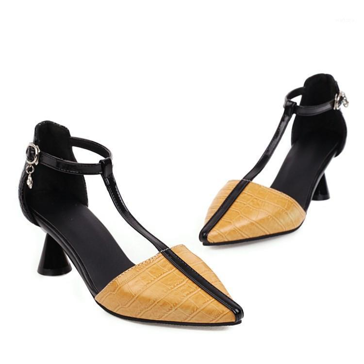 Pointed T-strap Woman Pumps Spring Summer Tapered Women Shoes High Heel Hollow Out Ladies Shoes 2020 New Yellow Large Size1