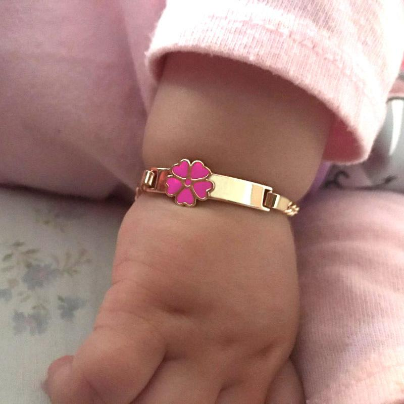 6PCS Heart Bracelets for Little Baby Girl Bracelet Kids Jewelry Christmas Gift Baptism Armband Gold Pulsera Bebe Pulceras B0929 0930