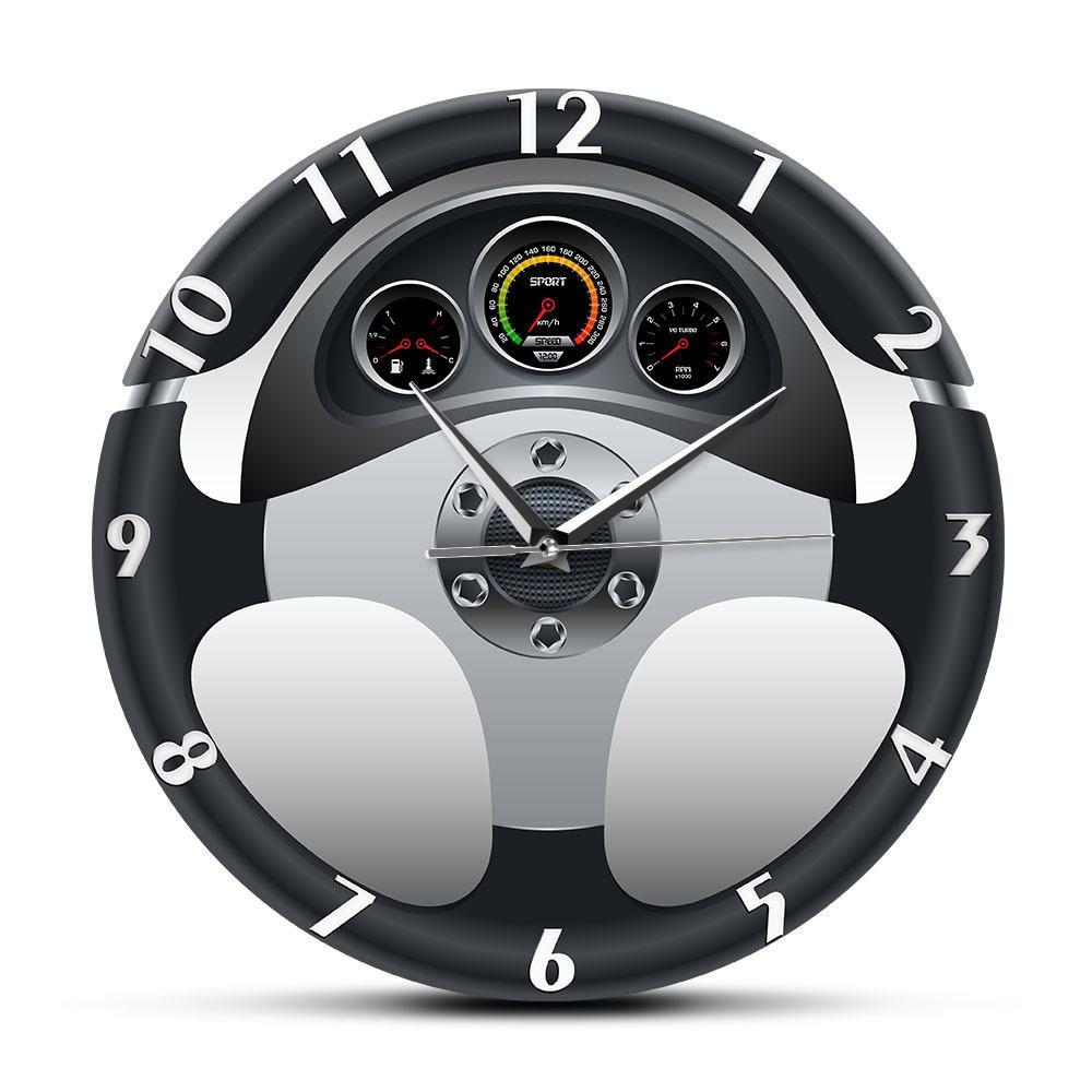 Спортивный автомобиль руль и приборная панель напечатанные настенные часы автомобильные произведения искусства домашнего декора автомобильный привод Авто стиль настенные часы LJ201208