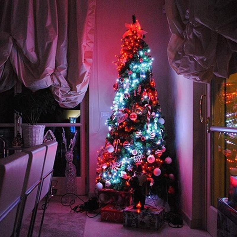 Рождественская елка украшения огни на заказ светодиодные светильники света приложения дистанционного управления qp2 201102
