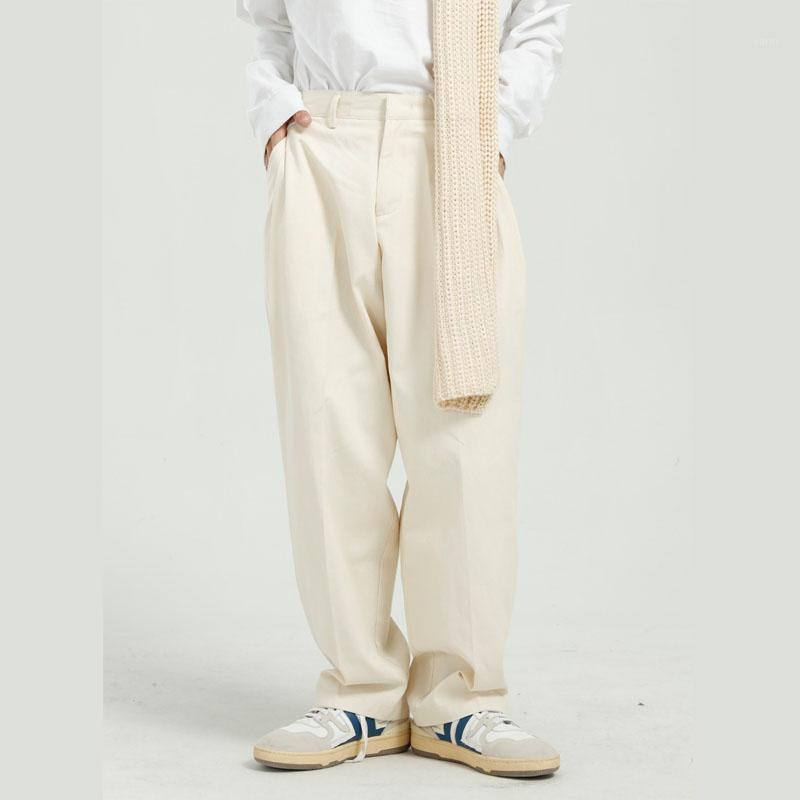 Мужские брюки мужчина повседневный сплошной цвет прямой костюм брюки мужчины уличная одежда хип-хоп винтажные свободные штаны1