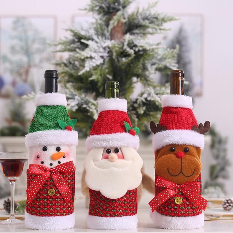 Noel Noel Şarap Şişesi Kapağı Noel Baba Yılbaşı Noel Süsleri Ev Adornos De Navidad 2020 Yılbaşı 2021 Hediye Deco için
