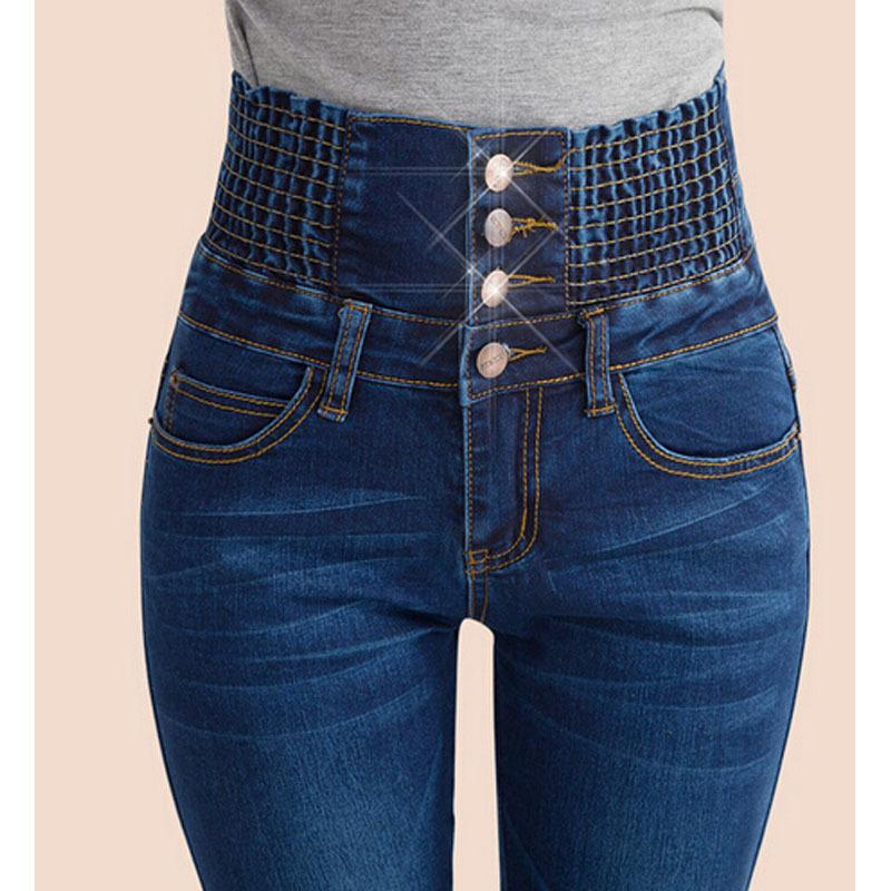 Moda Kadınlar Kot Pantolon Elastik Yüksek Bel Skinny Stretch Jean Kadın İlkbahar / Sonbahar Kot Ayaklar Pantalones Mujer Artı boyutu A1112
