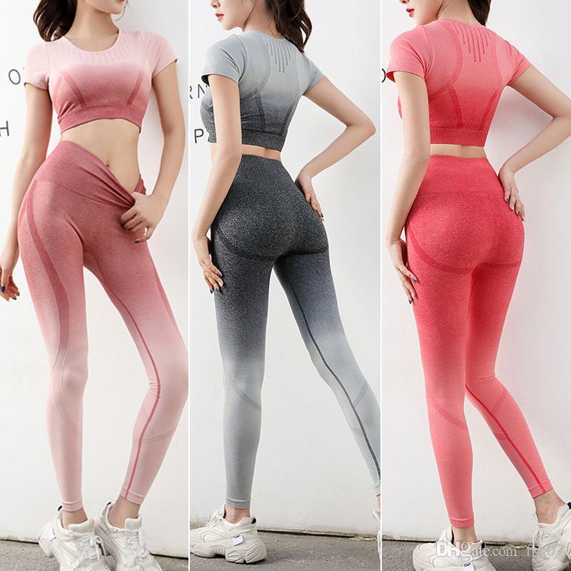 Femmes Gym Vêtements Yoga Set seamless-gorge de sport et leggings jogging entraînement de sport Collants Femmes Fitness Costume 2020